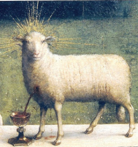 Detail Lamb of God by van Eyck